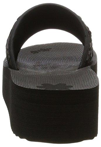 flip*flop Poolhi Sequins, Sandales Plateforme Femme Schwarz (Black/Silver)