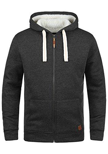 BLEND Ted Herren Sweatjacke Kapuzen-Jacke Zip-Hoodie mit Teddy-Futter aus hochwertiger Baumwollmischung, Größe:XL, Farbe:Charcoal (70818)