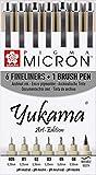 Yukama®, penne per rifiniture Sakura Pigma Art Edition, 6penne per rifiniture Pigma Micron e 1penna a pennello Pigma Brush, di colore nero