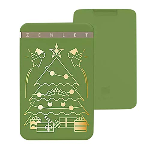 Happy Event Christmas Premium Kreditkartenetui Push-Pull Kartenhalter | Zenlet Credit Card Anti-Side Package Wallet Push-Pull Card Holder (Grün)