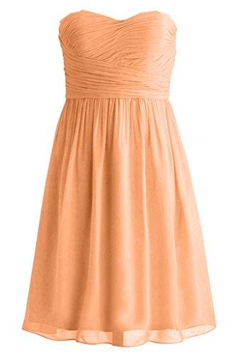 Victory Bridal Einfach Traegerlos Herzenform Geraft Abendkleider Brautjungfernkleider Kurz Cocktailkleider Orange