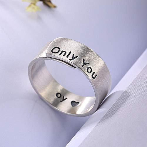 YIYIYYA Women Ring,Einstellbar Mode 925 Sterling Silber Gebürstet Buchstaben Breites Gesicht Form Frauen Schmuck Ring Verstellbar Einfache Vintage Freunde Geburtstag Geschenk