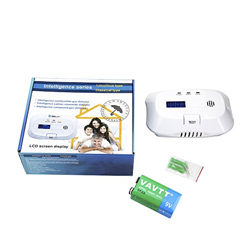 SUNLUXY CO Alarm CO Melder Kohlenmonoxid-Detektor & Feueralarm mit Optischer Sensor batteriebetrieben weiß - 7
