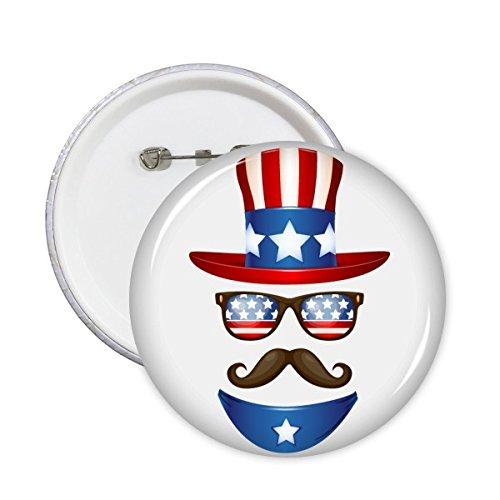 DIYthinker Amerika Uncle Sam Muster rund Pin-Abzeichen-Knopf 5Pcs XL -