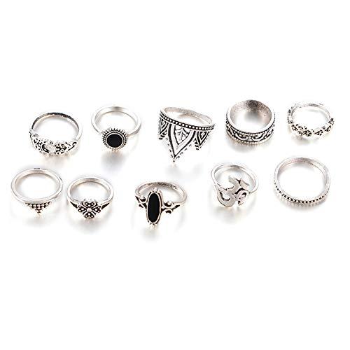bismarckber 10-teiliges Set Damen Vintage Crown Trig Oben Knöchel Ring Set Midi Stapelringe - Für Oben Ringe Knuckle Silber