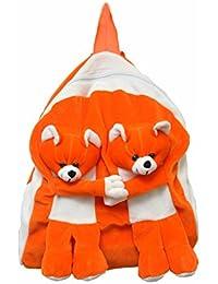 Pratham Enterprises Orange Twins Bear Cute Soft Toy School Bag For Kids