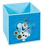 H24living Faltbox Aufbewahrungsbox Faltbar Frozen Faltkiste mit Fingerloch Walt Disney Disneywelt Die Eiskönigin Regalbox Korb Stoffbox Spielkiste Raumteiler Regale 32x32x32cm Blau