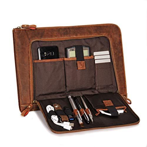 Donbolso Notebook Sleeve London braun - 13,3 Zoll DIN A4 Laptop und Netbook Aktentasche aus Leder für Herren und Damen -