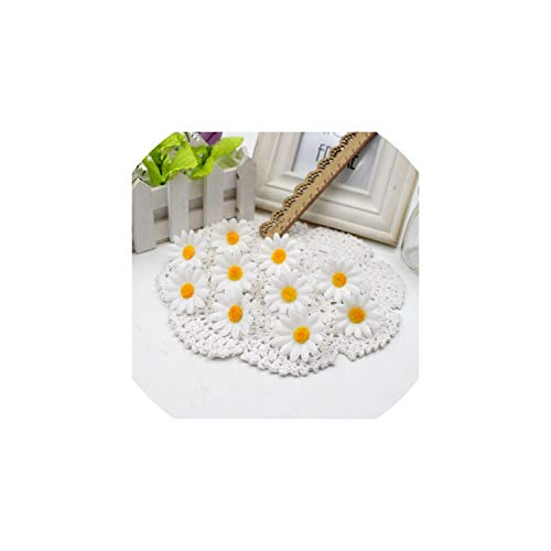 Eternity Bliss Künstliche Blumen 50pcs Kleine Silk Sonnenblume-Kopf Hochzeitsdekoration, Weiss