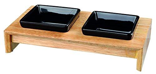Trixie Napf-Set, Keramik/Holz - für Hunde 2x0,2 l/10 cm, 28x5x15 cm, schwarz