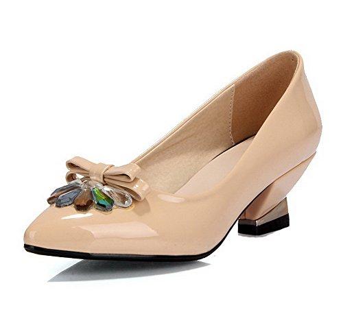 VogueZone009 Damen Spitz Zehe Ziehen Auf Lackleder Rein Mittler Absatz Pumps Schuhe Aprikosen Farbe