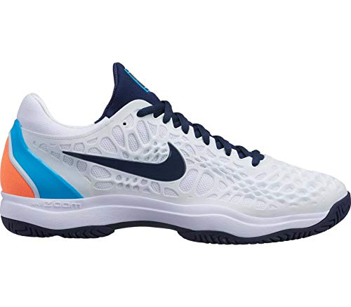 Nike Air Zoom Cage 3 HC, Scarpe da Tennis Uomo, Multicolore (White/Obsidian/Light Carbon/Lt Blue Fury 000), 41 EU