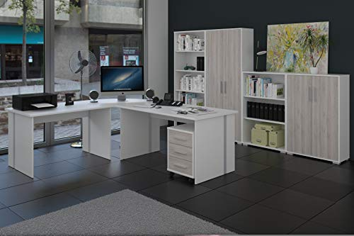 Büromöbel, Arbeitszimmer 8-teilig in Weiss mit Fronten in Sonoma-Sorrento