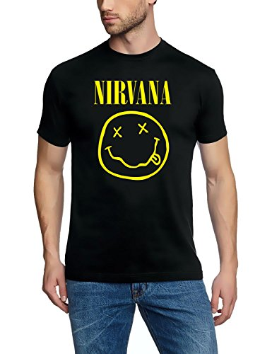 coole-fun-t-shirts Herren T-SHIRT NIRVANA SMILEY, schwarz, Schwarz, XL Nirvana Textil