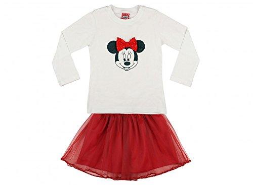 MÄDCHEN-SET 2-teilig von Minnie Mouse in GRÖSSE 98, 104, 110, 116, Langarm-Shirt, Longsleeve und Tüll-Röckchen, Sweat-Shirt, T-Shirt langärmlig weiß und super süßer Rock rot Größe 98 (Rock Minnie)