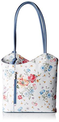Chicca Borse Damen 80056 Schultertasche, Mehrfarbig (Fiori/blu Jeans), 27x30x9 cm -