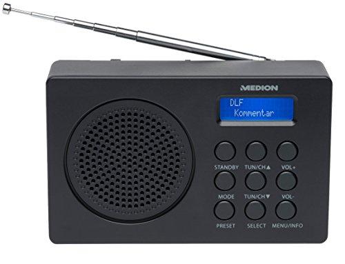 MEDION LIFE E66320 MD 43000 DAB+ Radio (Empfang von digitalen Radiosendern, 1 Watt RMS, 20 Senderspeicher, Netz- oder Batteriebetrieb) schwarz