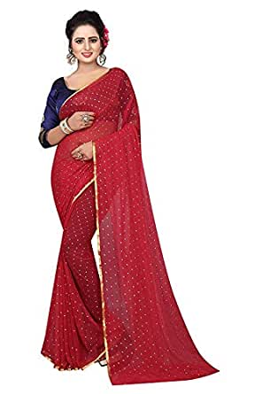 5afc2988c327c Clothing   Accessories · Women · Ethnic Wear · Sarees  Krishna Adv Women s  Plain Daily Wear Chiffon Saree Gulab (red   gold)