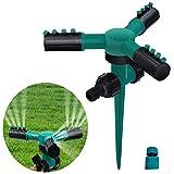 #9: Lawn Sprinklers Automatic 360 Rotating Adjustable Garden Hose Watering Sprinkler with Leak Free 3 Arm Sprayer,Spike Base