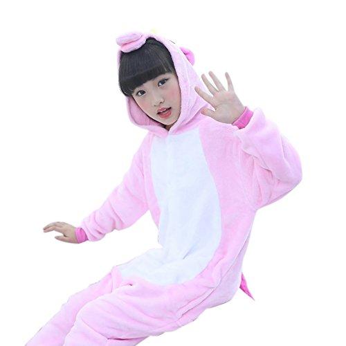 Chicolife Kinder Mädchen junge Baumwolle Einhorn Pegasus Pferd Kostüm Kostüm Tier-Strampler Schlafanzug Nachtwäsche Cosplay rosa (Voll Pferd Kostüme)