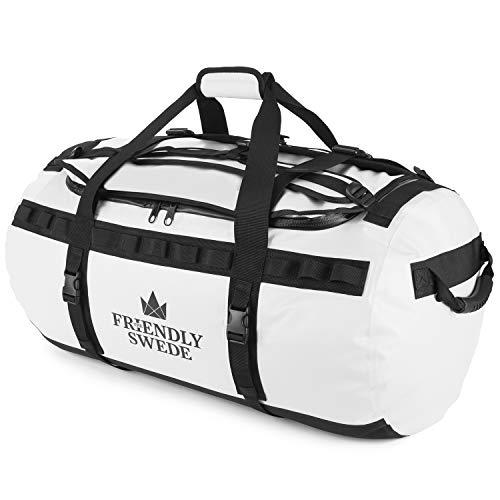 The Friendly Swede Reisetasche Duffle Bag - Duffel Bag Rucksack 30L/60L/90L - Sporttasche Travel Bag - Rucksackfunktion - SANDHAMN (Weiß 90L) - Großer Rucksack Tasche