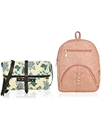Kleio One Fold Canvas PU Printed Cross Body Sling Bag & Zipper Backpack For Girls / Women