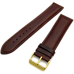 Sorrento Italian Padded Calf Leather XL Extra Long Watch Strap Band - Brown, 20mm with Gold Plated buckle