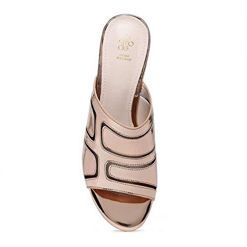 Tresmode Women's Synthetic Block Heel Champagne Sandals