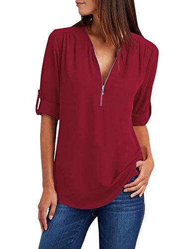Yidarton Chemisier Femme Manches Longues Tunique Col V à Zippé Mousseline Top Blouse Mode (Vin Rouge, XL)