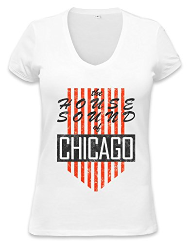 House Sound Of Chicago Retro Womens V-neck T-shirt XX-Large (T-shirt Retro Chicago Womens)