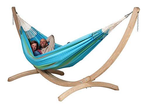 La Siesta Familien-Hängematten-Set Flora curaçao inkl. Canoa Holzständer 200kg Tragkraft waschbar -