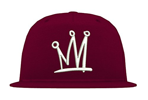 TRVPPY 5-Panel Snapback Cap Modell TGOD Khalifa Crown Krone, Weiß-Burgundy, B610 - Hat Tisa