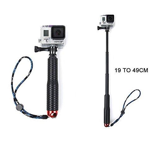 Vanker Palo Selfie Monopod Verlängerung Aluminium für GoPro Hero 233+ 4Hero Rückfahrkameras Sport rot