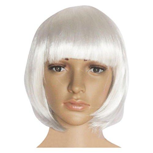 Damen Perücken, erthome Farben Mode kurze gerade Perücke Cosplay Party Perücke (Weißes Haar Kostüm Erweiterungen)