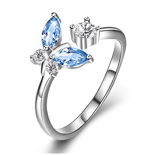 Sterling Silver Butterfly Open Ring with Gift Box for Women Girls D5w89