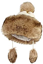 DEMU Damen Fellmütze Mongolische Mütze Bommel Wintermütze Pelzmütze Kunstfell Schnee Ski Weiß