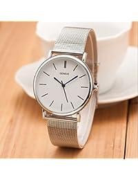 Nueva plata famosa marca las mujeres del reloj de cuarzo ocasional ginebra relojes de vestir de acero inoxidable de malla de metal RELOGIO ( Color : Plateado , Talla : Una Talla )