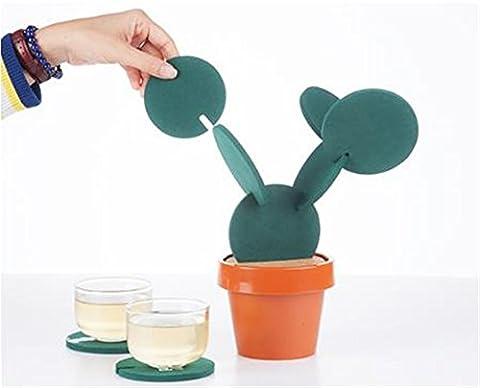 Uni Meilleur Cactus en pot Dessous-de-verre Décoration de table fantaisie Isolation Tapis de coupe Isolation thermique antidérapant Pad avec pot de fleurs en forme de
