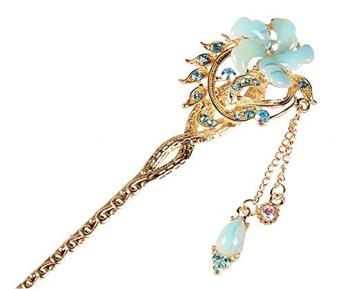 Nuptiale Coiffe Ornements cheveux épingle classique main, fleur bleue