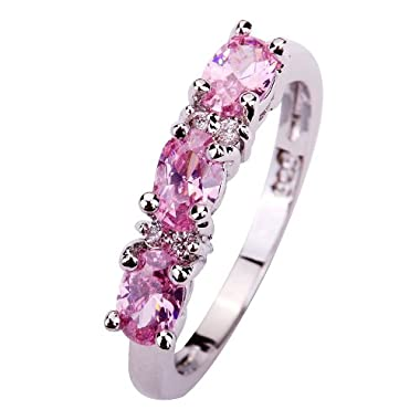 YAZILIND Women's Ring with Oval Cut Pink White Sapphire Gemstone Silver Ring Size S