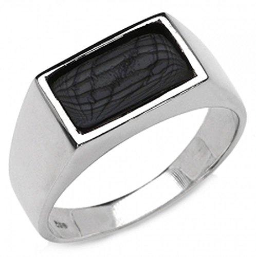 ONYX-Herren-Ring Siegelring 925 Sterl.Silber Rhodiniert-2,17 Karat-Gr.57