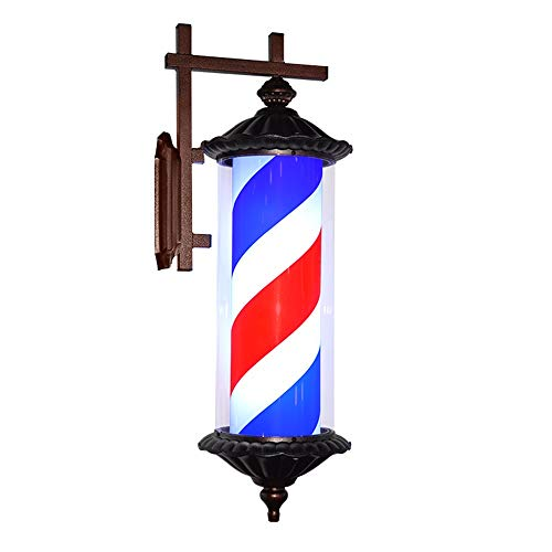 kodnn LED 76cm Poste de Barbero Luminoso,Giratorio Esclarecedor para Peluquería Rayas Impermeable y Blanco Red&Blue