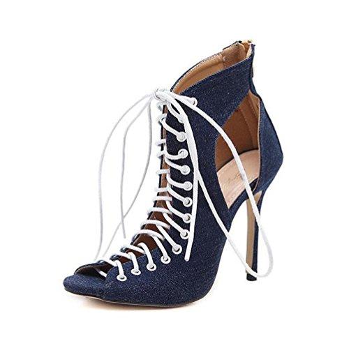 WYWQ 2018 Primavera E Estate New Fish Bocca posteriore Zip Openwork Donna Sandali con tacco alto Partito Prom fresco Stivali Bare Boots Nero Blu 35-40 blue