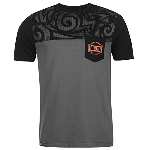 Tapout Herren Tonal Print T Shirt Kurzarm Rundhals Baumwolle Regular Fit Schwarz/Charcoal Extra Lge (Tonal Print-shirt)