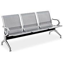 Cablematic - Bancada para sala de espera con sillas ergonómicas plateadas de 3 plazas