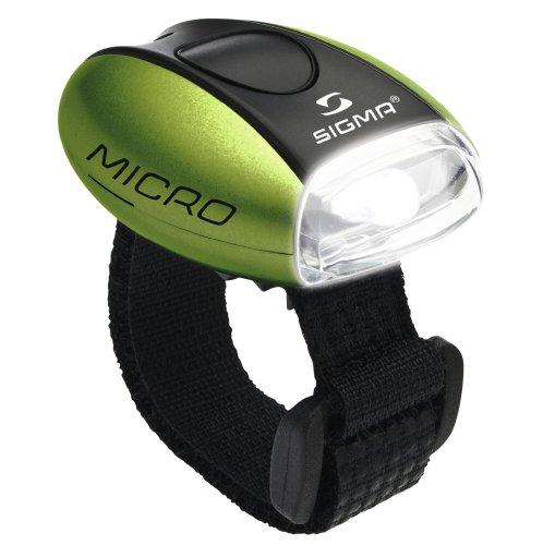 Sigma Sport Beleuchtung Micro - Frontleuchte LED weiß, permanent leuchtend / blinkend, 20 g, spritzwassergeschützt, Fahrradlampe, Sicherheits-Leuchte, Helmleuchte