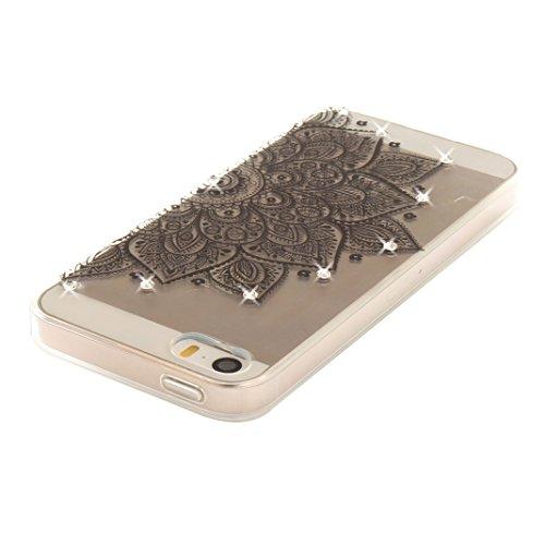Coque iPhone 5 Doux TPU, iPhone 5S Noctilucent Case, iPhone SE Arrière Etui, Moon mood® Ultra Mince 4.0 pouces Soft Flexible Souple TPU Étui Luminous Rhinestones Housse iPhone 5 5S SE Téléphone Cellul 1 Style-3