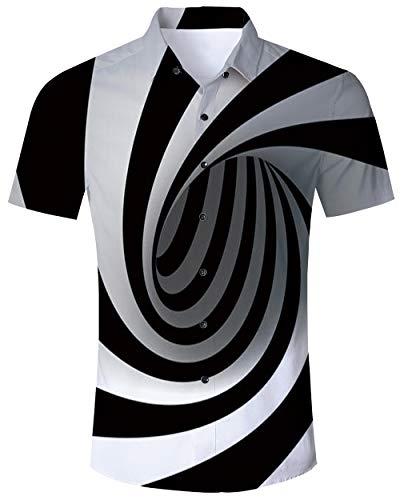 Goodstoworld Camicia Uomo Manica Corta Camicie Hawaiana Estiva Fiorata Tropicale 3D Stampa Casual Hawaiano Shirt XXL