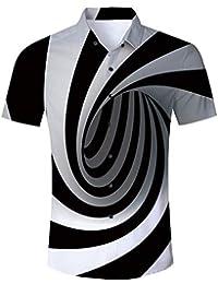 ca9e8534091a Goodstoworld Mens Casual Shirts Funky 3D Printed Short Sleeve Colourful  Hawaiian Shirts S-XL