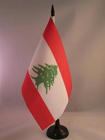 DRAPEAU DE TABLE LIBAN 21x14cm - PETIT DRAPEAUX DE BUREAU LIBANAIS 14 x 21 cm - AZ FLAG